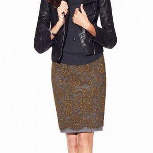 LOFT olive green lace pencil skirt w/grey lining
